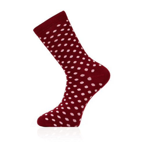 red sock with white polka dot